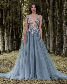 Sheer Plunging Neckline Appliqued Party Gowns Cheap Sweep Train Tulle Beads Evening Wear For Women Paolo Sebastian Lace Prom Dress V Neck Prom Dresses, Blue Wedding Dresses, Tulle Prom Dress, Sheer Dress, Dress Up, Formal Dresses, Dress Long, Dresses Dresses, Lavender Wedding Dress