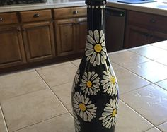 Hand painted wine bottle for decoration. by Spechtcessories