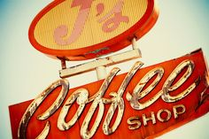 J's Coffee Shop Vintage Neon Sign As Seen by RetroRoadsidePhoto