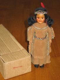 Blue Bonnet Indian Girl Vintage Doll