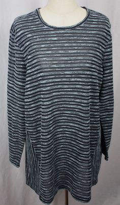J. Jill. Womens Tunic Sweater. Blue Striped. are taken with garment lying flat and unstretched. Size XL. Long Sleeve. 23 Percent Cotton.   eBay!