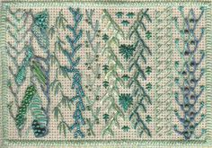 Feather stitch sample for crazy quilt embellishment, by Fiberdabbler, via Flickr