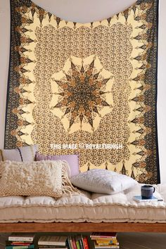 Buy multi star chakra cotton medallion mandala tapestry wall hanging bedding bedspread at affordable price. Shipping worldwide USA, UK, Canada, Australia and more countries.