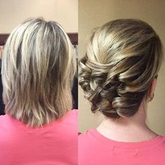 Short hair CAN go up! This hair was thick, straight, and short. I created this within minutes, with NO curling iron, and used #kellgrace updo techniques. Thanks for packing out the class, #tallahassee Next weekend #Jacksonville!