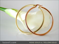 Love this contrast! Solid 18k rose gold and yellow gold hoop earrings.   Starting at $349.00