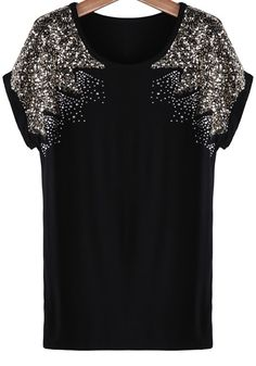 So Pretty! Holiday Fashion! Black and Silver Sparkly Sequin Short Sleeve Knit T-Shirt #Black