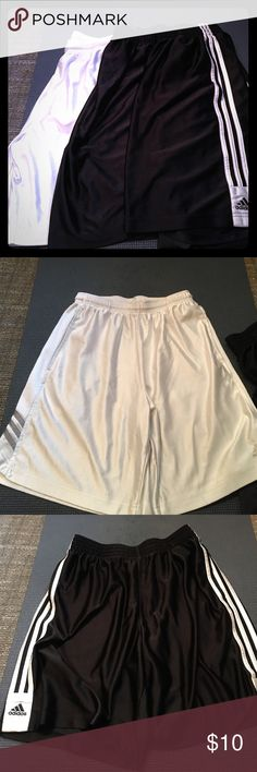 Men's Adidas Basketball Shorts 3-Pack Three pairs of men's basketball shorts. The white pair has a small amount of pulling but all three are otherwise in great shape. All three have pockets. White pair are small but fit like a medium; black pairs are L/XL but fit like larges. Adidas Shorts Athletic