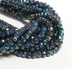 50 - Czech Glass 3x5mm Faceted Rondelle - Bohemian Spacer Beads / Boho Accent Beads / Metallic Beads / Jewelry Supply - Gunmetal AB