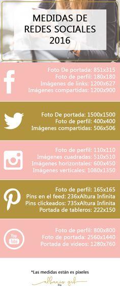Guía de medidas de las imágenes de redes sociales recomendadas para que las utilices en tu estrategia de marketing.