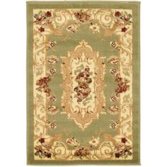 Traditional Versailles Green 2 ft. 2 in. x 3 ft. Area Rug