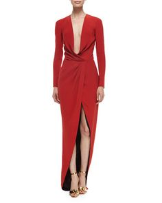 Long-Sleeve Draped Silk Wrap Gown by J. Mendel at Neiman Marcus.