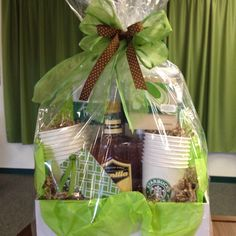 "Photo box used for this gift ""basket"" I did for Relay for Life silent auction. Hope the STARBUCKS theme brings BIG BUCKS!!"