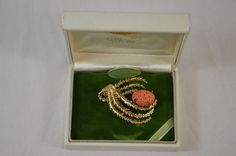 Wells Vintage Sterling Silver w/ Gold Finish Genuine Coral Seaweed Brooch in Box #Wells