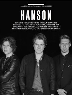 The Hanson brothers speak about their 21 year career and discuss the reason they have managed to stick together as a band and as a family after so long. Check out the exclusive interview here: https://vimeo.com/70177016 and download SOUNDS for iPhone here: https://itunes.apple.com/us/app/sounds-magazine-for-iphone/id509153123?mt=8