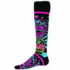 I need these!  Red Lion Muertos Day Of the Dead Socks ( Multi Colored - Medium )