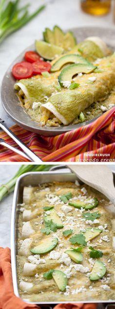 Avocado Cream and Chicken Suiza Enchiladas #Recipe on foodiecrush.com
