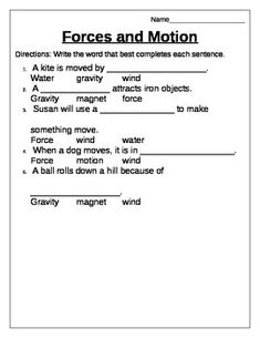 Printables Force And Motion Worksheets push pull sorting worksheet for unit on motion and force students includes worksheets magnets