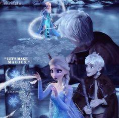 Jack Frost and Elsa making magic