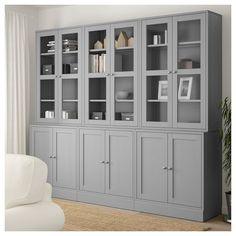 HAVSTA Storage combination w/glass doors - gray - IKEA