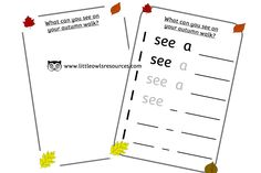 FREE Autumn Walk Writing Frame Early Years (EYFS) Printable Resource — Little Owls Resources - FREE Sentence Writing, Writing Prompts, Nursery Practitioner, Early Years Teacher, Autumn Walks, Eyfs, Nursery Rhymes, Phonics, Learning Activities
