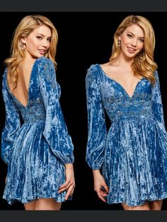 Sherri Hill, Dusty Blue, Fashion Show, Autumn Fashion, Runway, Dresses With Sleeves, Couture, Chic, Long Sleeve