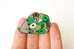 Green and gray hedgehog brooch woodland by lacravatteduchien, €12.00