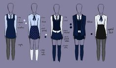 School Uniform Designs for Ravenclaw girls, worn under the Hogwarts robes School Uniform Fashion, School Uniform Girls, Girls Uniforms, School Uniform Anime, Private School Uniforms, Uniforms For School, Catholic School Uniforms, Harry Potter Kleidung, Hogwarts Uniform