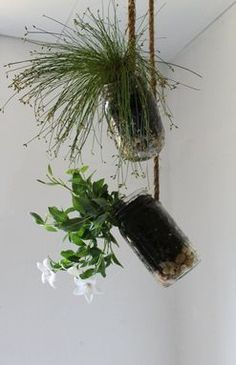 Set of 2 Hanging Mason Jar Planters with drainage - Upcycled home & garden decor - Quart and Pint Ball Jars BootsNGus design.