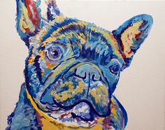 French Bulldog Dog Painting Blue French Bulldog by OjsDogPaintings #frenchbulldog #art #painting #frenchie #bulldogfrances #frenchbull