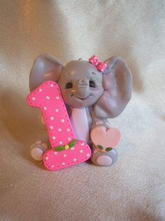 elephant birthday cake topper Christmas ornament by clayqts
