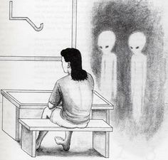 """""""Jim Sparks's depiction of the EBE """"classroom"""" where he was forced to learn a symbol equivalent of the English alphabet and numbers, as well as alien shorthand symbols and phrases. Drawing by Jose Galante"""""""