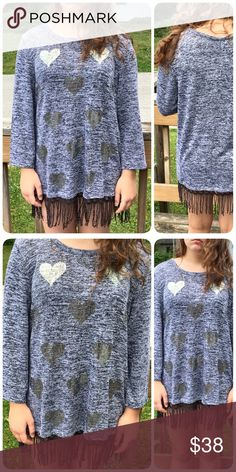 💙Metallic Heart Fringe Sweater! NEW!💙 Heather gray sweater with silver metallic hearts on front and black fringe at bottom hem. Boutique Sweaters Crew & Scoop Necks