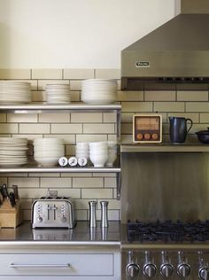 Great tile, shelving, countertop, drawer pulls
