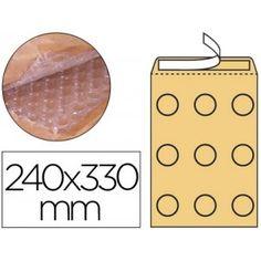 Bolsas acolchadas para el envío de artículos delicados, fabricadas en papel kraft con interior forrado de burbujas de aire.   Medidas: 240 x 330 mm.  Caja de 50 sobres.