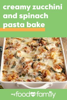 Creamy Zucchini and Spinach Pasta Bake You dont need to go out to eat to enjoy Italian-style fare simply make it at home! With only 35 minutes of prep combine cavatappi CLASSICO Marinara BREAKSTONES Ricotta Cheese and KRAFT Mozzarella. Pasta Recipes, Diet Recipes, Cooking Recipes, Noodle Recipes, Salmon Recipes, Easy Cooking, Recipes Dinner, Casserole Recipes, Recipies