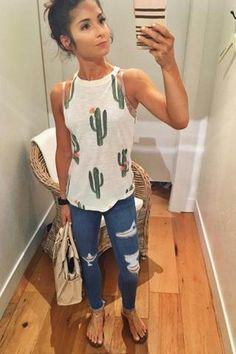 e736fa7af8a77 High Neck Cactus Print top. Brokedown Cactus Tank (white) High Neck Shirts