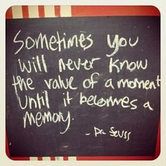 Sometimes you will never know the value of a moment until it becomes a memory. ~ Dr. Seuss