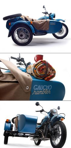 A splash of Pacific Blue paint. A blanket from Pendleton Woolen Mills. And an enamel camp kit with a coffee pot, mugs, plates and a frying pan.   Anyone else feel like a two-wheel-drive escape into the country with the new Gaucho from @Ural Donohoe Donohoe Motorcycles?