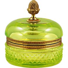 Vintage French chartreuse vaseline crystal glass hinged Box from memorablecollection on Ruby Lane