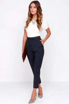 Professional Outfits For Women trouser we go navy blue high waisted pants business casual Professional Outfits For Women. Here is Professional Outfits For Women for you. Professional Outfits For Women business casual style simple fashion cu. Business Attire For Young Women, Business Outfit Frau, Business Professional Outfits, Business Wear, Business Casual Outfits For Women, Women's Professional Attire, Business Chic, Summer Business Outfits, Business Formal Women