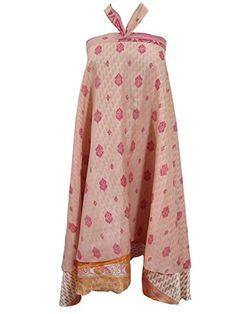 Beach Wraps Skirt Two Layer Peach Pink Floral Printed Long Vintage Silk Sari Skirt Mogul Interior http://www.amazon.com/dp/B00XMZQBVW/ref=cm_sw_r_pi_dp_niwvvb1X1Z2T7