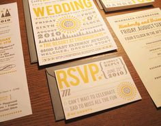super cool modern wedding invitations....we're excited to get married!