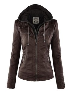 MBJ Womens Faux Leather Motorcycle Jacket With Hoodie at Amazon Women's Coats Shop