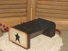 primitive wood book rack shelf crackle black star farmhouse country home decor