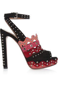 Alaïa|Studded suede sandals|NET-A-PORTER.COM