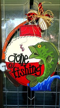 Gone fishing Lake House RV Camper Fathers Day Gift Painted Doors, Wooden Doors, Painted Signs, Wooden Signs, Grandparent Gifts, Fathers Day Gifts, Husband Gifts, Fishing Signs, Fishing Poles