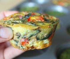 Paleo Egg Muffins Tomato + basil (1/4 cup chopped tomatoes, 1/4 cup chopped fresh basil) Kale + garlic (1/2 cup chopped kale, 3 cloves chopped garlic) Cilantro + green onion (1/4 cup chopped cilantro, 1/4 cup green onion) - Had to pin this for Katie.