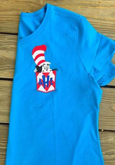 Dr Seuss Cat In the Hat faux pocket tee. Great for Dr Seuss bday gift for teacher, child or for yourself.