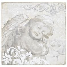 Adeco Decorative Sleeping Angel Wood Wall Plaque, Gray Home Decor