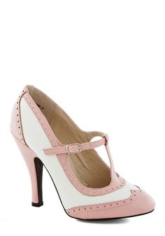 Speakeasy Does It Heel in Blush - High, Faux Leather, Pink, Solid, Wedding, Party, Daytime Party, Vintage Inspired, Pastel, Better, T-Strap,...